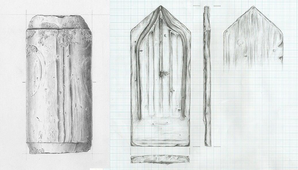 Roemischer Ziegel, neuzeitlicher Ziegel, Fundaufnahme, artifact drawing, ikonaut