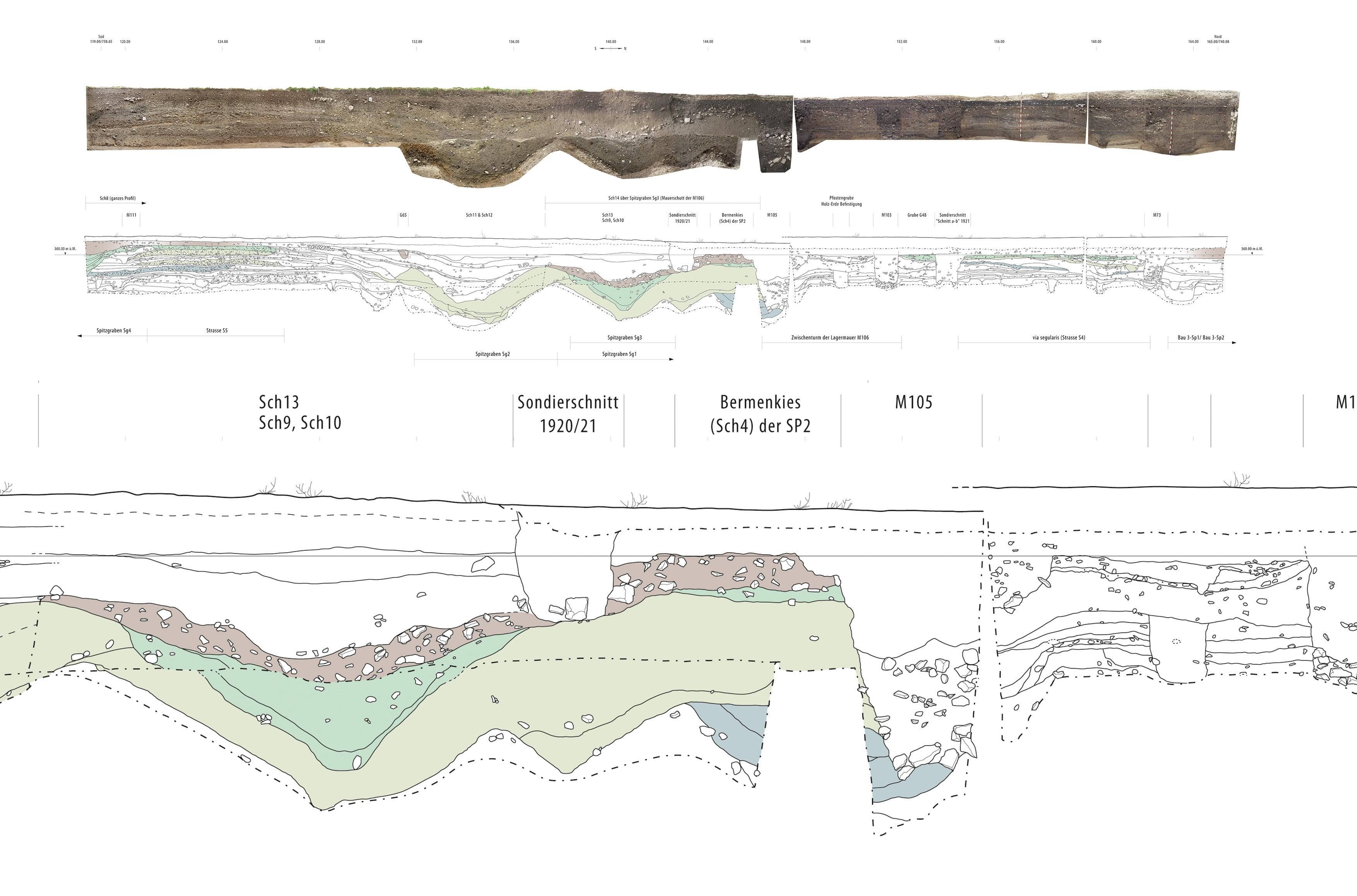 Planzeichnung Spillmannwiese, am Suedtor von Vindonissa, ikonaut
