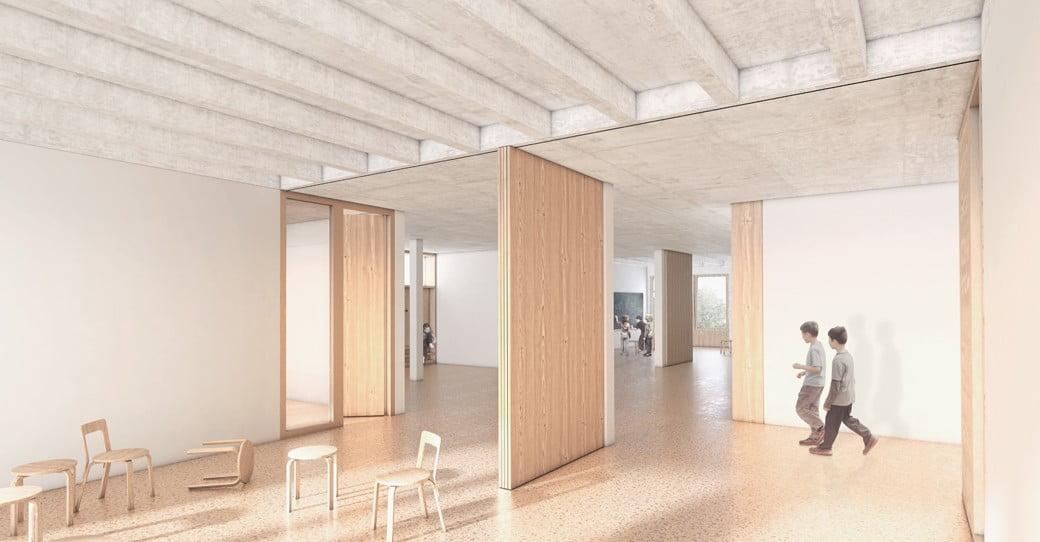 Schulhaus Staffeln, Architekturvisualisierung, innenansicht, ikonaut
