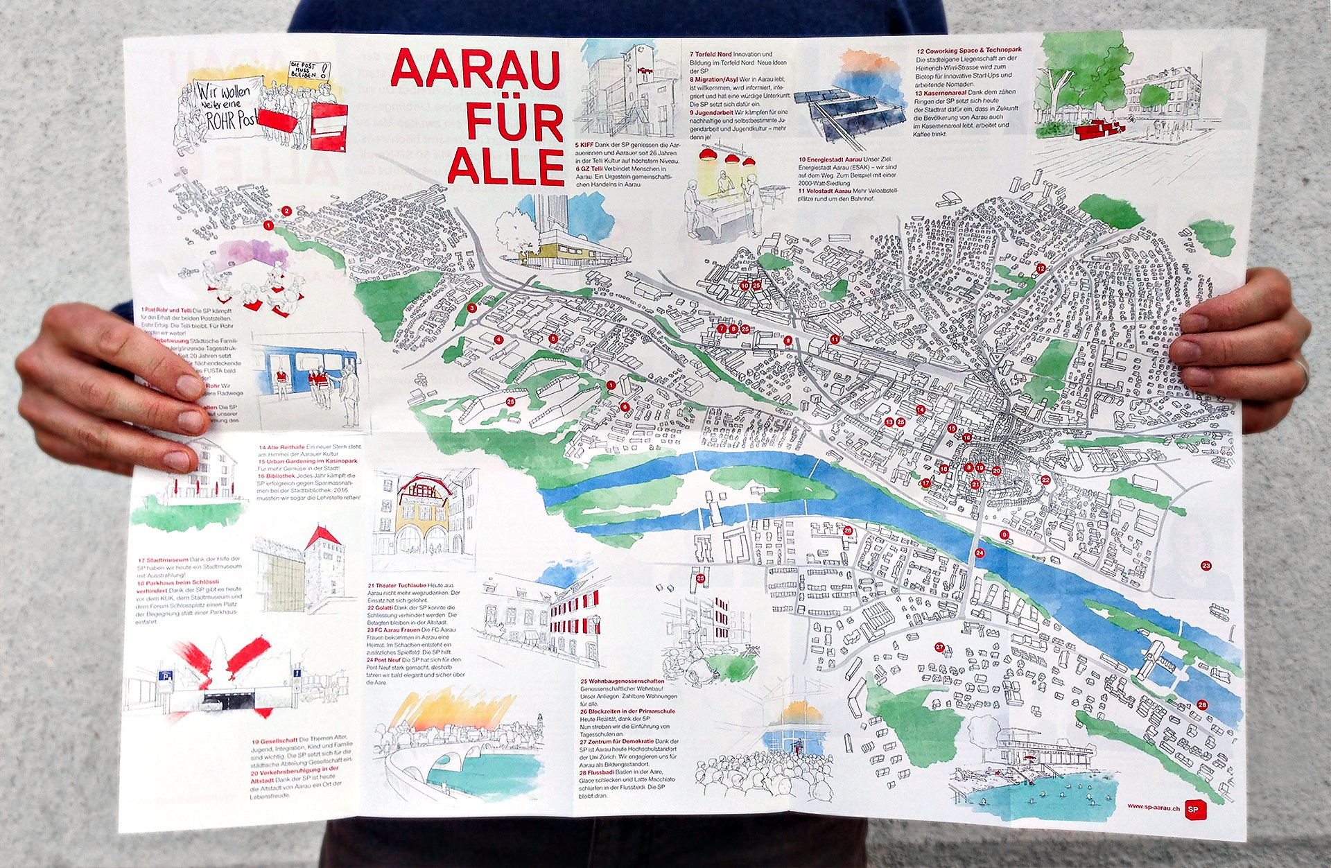 SP Aarau, Stadtkarte, City Map, illustration, ikonaut
