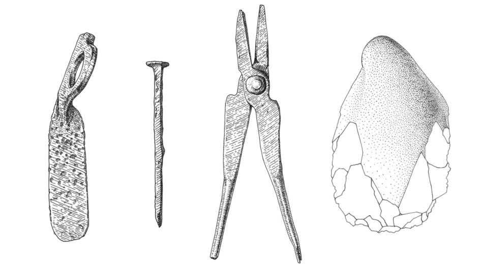Roemische Objekte, Steinobjekt, Fundaufnahme, ikonaut