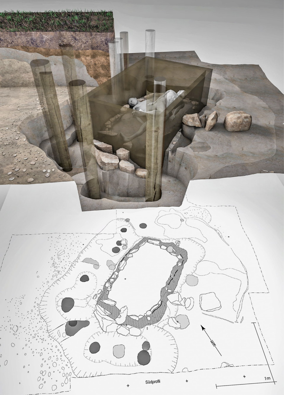 3D-Rekonstruktion Kollektivgrab, Collective Grave, ikonaut