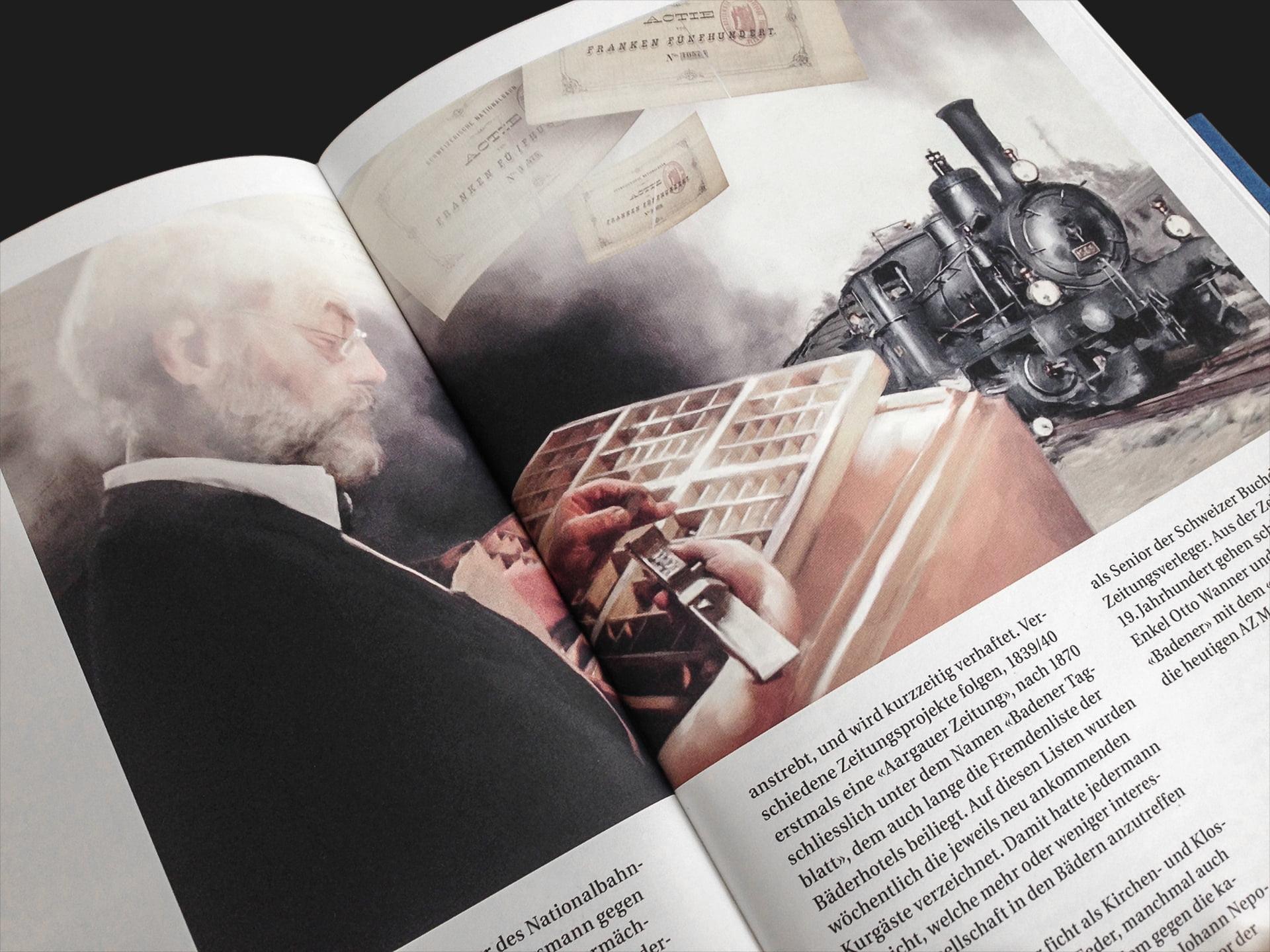 Stadtgeschichte Baden, Joseph Zehnder, illustrations, ikonaut