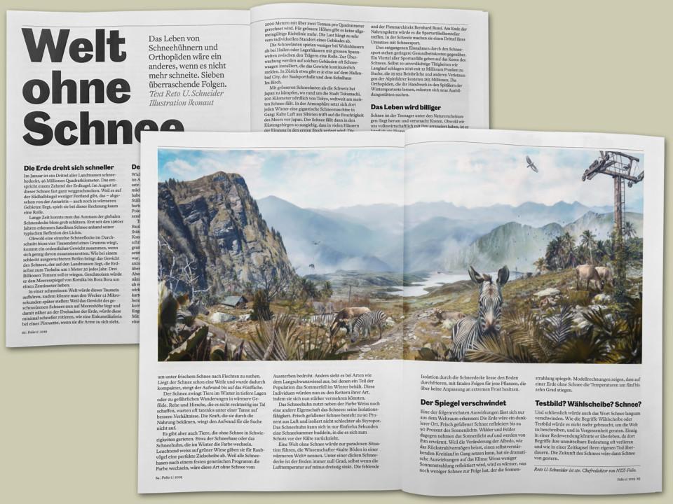 NZZ Folio, Welt ohne Schnee, ikonaut, wissenschaftliche illustration, visualisierung