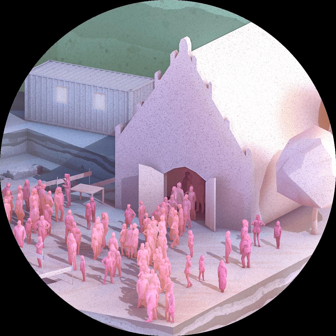 Kantonsarchaeologie, Denkmalpflege, Zuerich, Faltplakat, ikonaut, 3D-Visualisierung