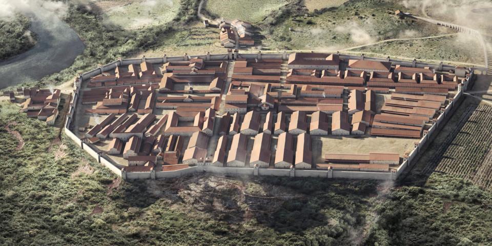 Legionslager Vindonissa, Nordansicht, 3d-rekonstruktion, ikonaut, wissenschaftliche illustration, visualisierung