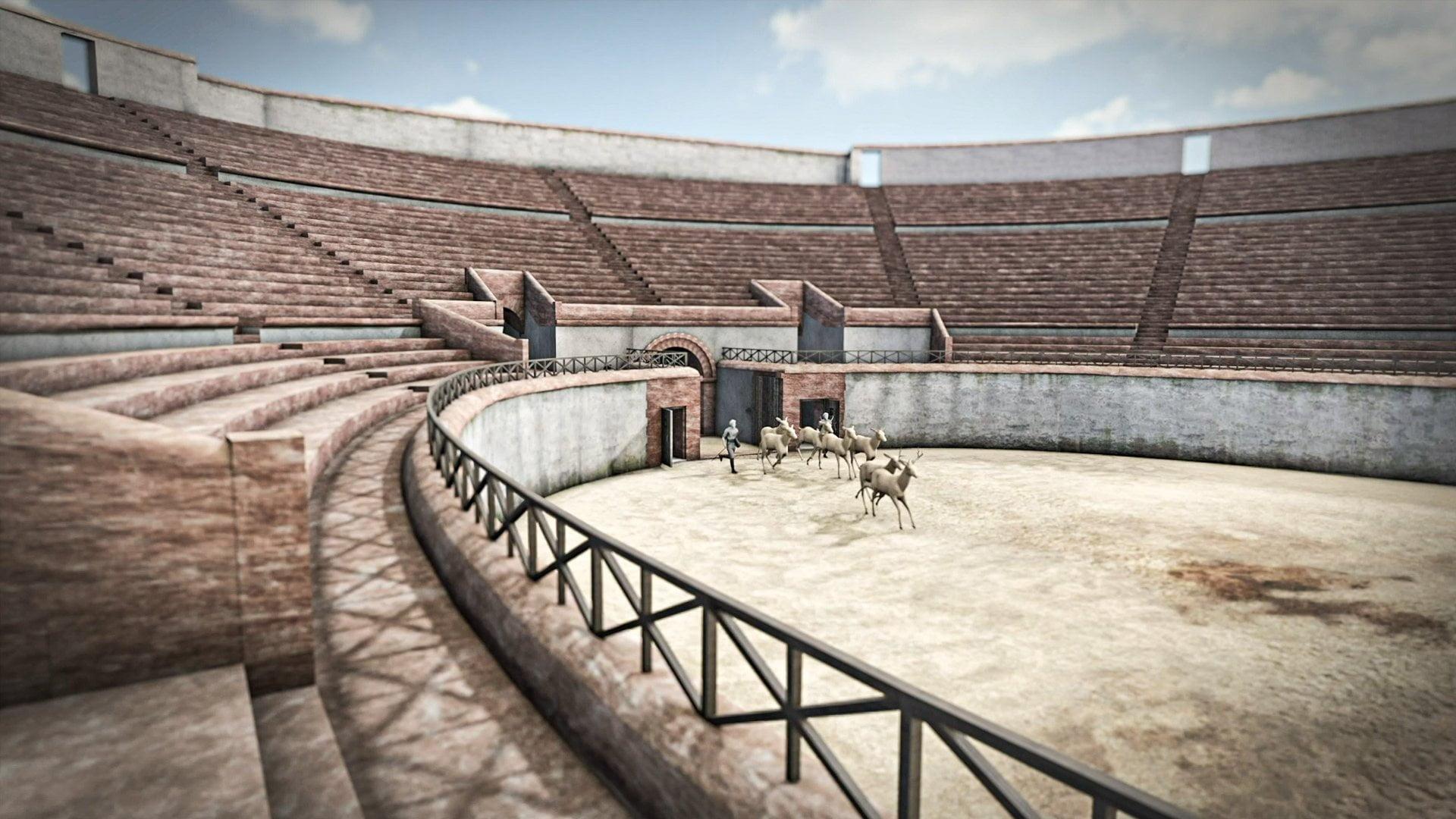 Augusta Raurica, Amphitheater, Screen, Venatio, ikonaut