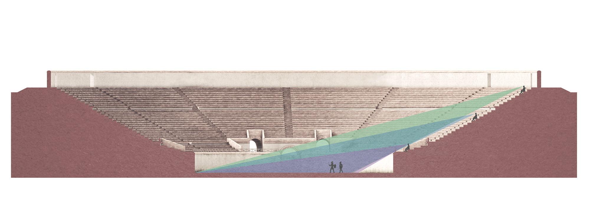 Augusta Raurica, infotafel, 3d-visualisierung amphitheater, querschnitt, ikonaut