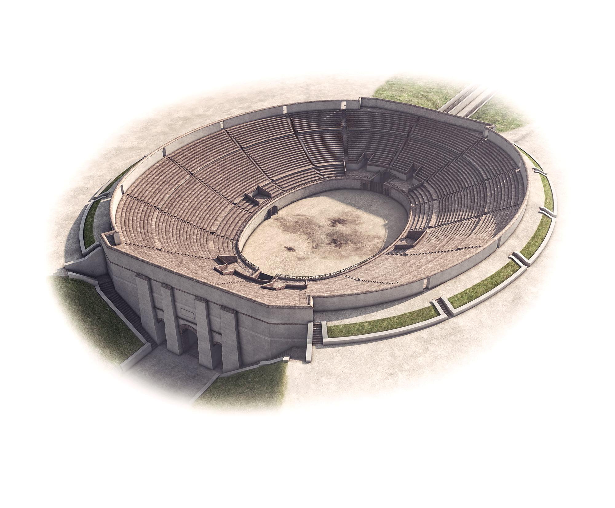 Augusta Raurica, infotafel, 3d-visualisierung amphitheater, ikonaut