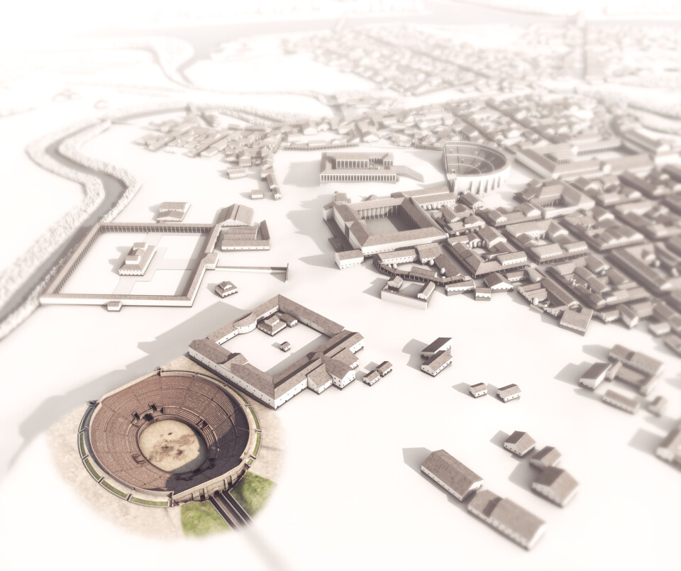 Augusta Raurica, infotafel, 3d-visualisierung amphitheater, gesamtübersicht, ikonaut
